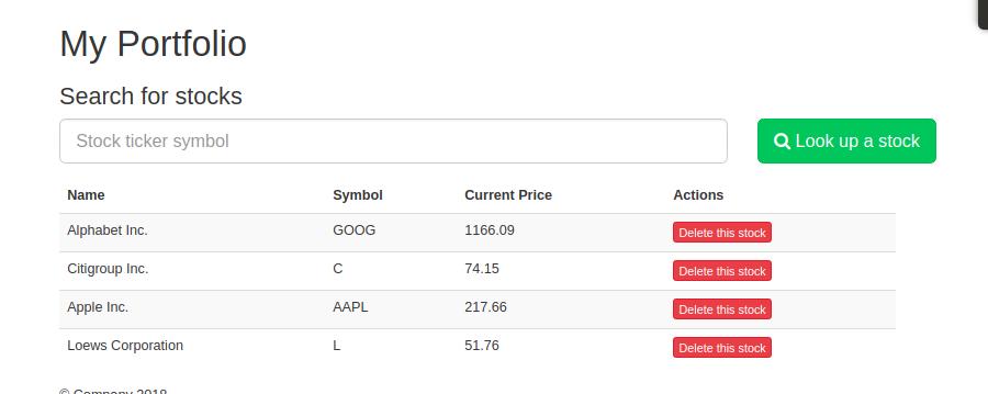 My Portfolio page from Finance Tracker app